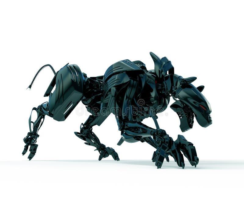3d wilde jager - cyber panter vector illustratie