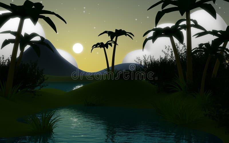 3d wildernislandschap bij nacht royalty-vrije illustratie