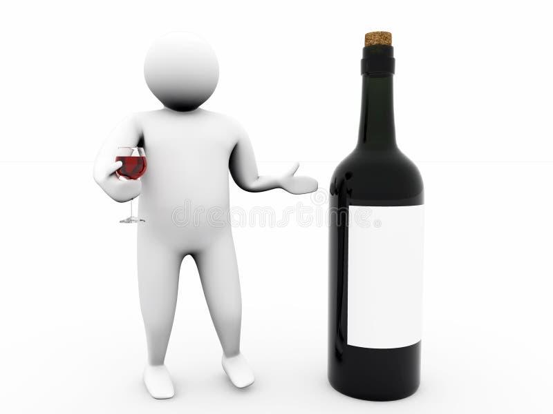 3d wino ilustracja wektor
