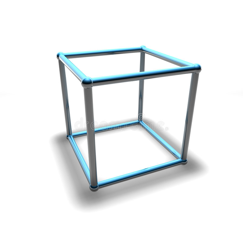 3d wireframe cube royalty free illustration