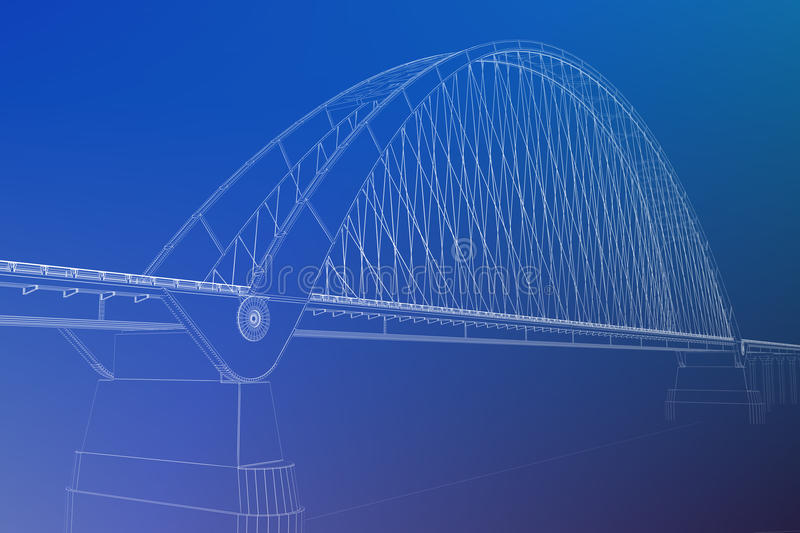 3d wireframe render of a bridge. See my other works in portfolio royalty free stock photos