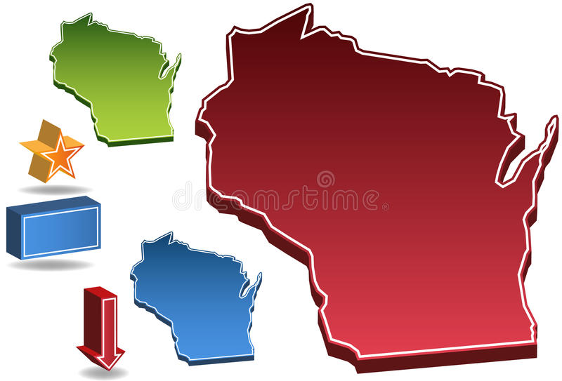 3D Wisconsin vector illustratie