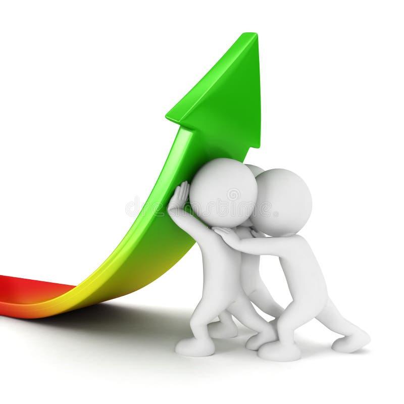 3d witte groei van de mensenverkoop stock illustratie