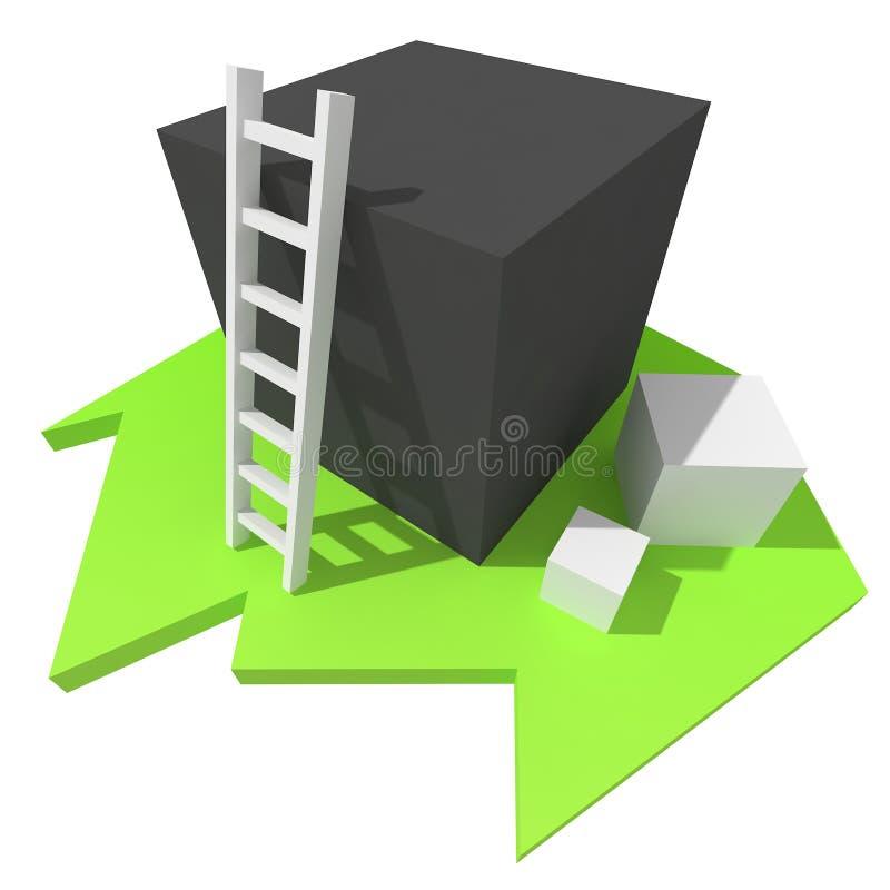 3d Witte Ladder op Zwarte doos royalty-vrije illustratie