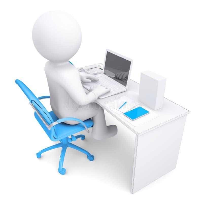 3d witte mens die bij laptop werken. Op de lijst in een wit vakje stock afbeeldingen