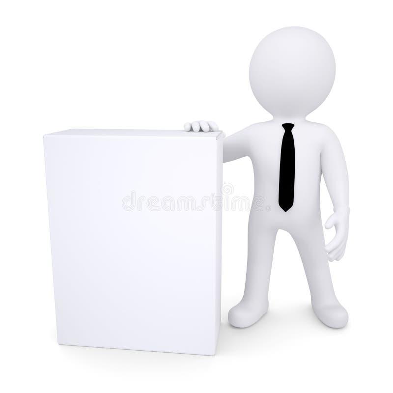 3d witte mens naast de witte doos royalty-vrije illustratie