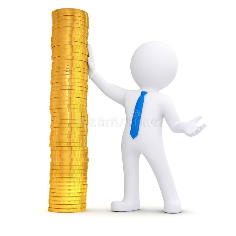 3d witte mens naast een stapel van gouden muntstukken royalty-vrije illustratie