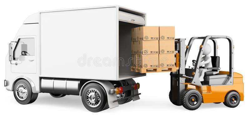 3D witte mensen. Arbeider die een vrachtwagen met een vorkheftruck laden vector illustratie