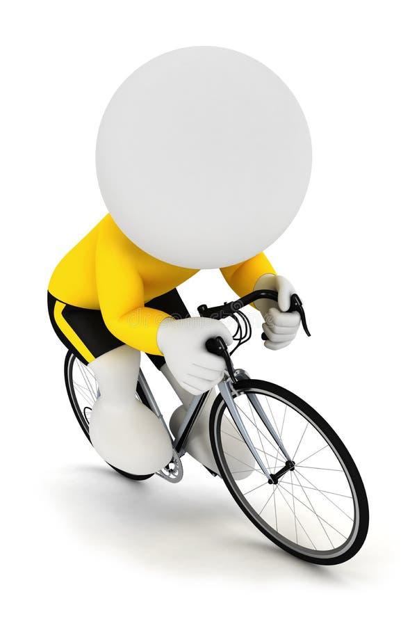 3d witte mensen die fietser rennen royalty-vrije illustratie