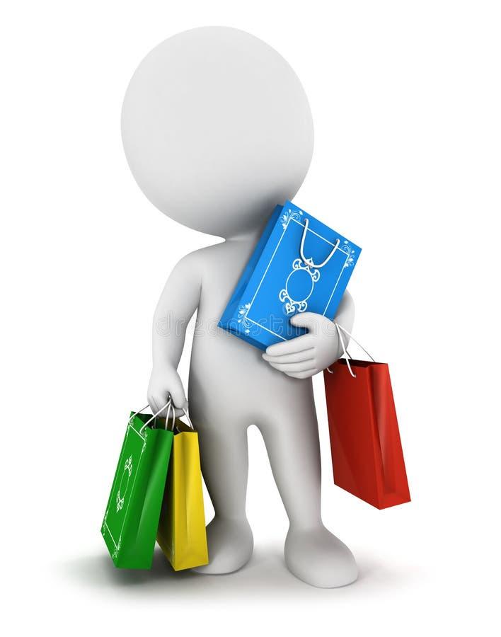 3d witte mensen dragen het winkelen zakken stock illustratie