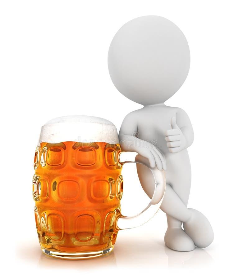 3d witte mensen houden van bier stock illustratie