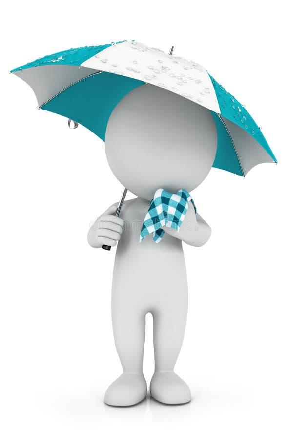 3d witte mensen met een koude in de regen vector illustratie