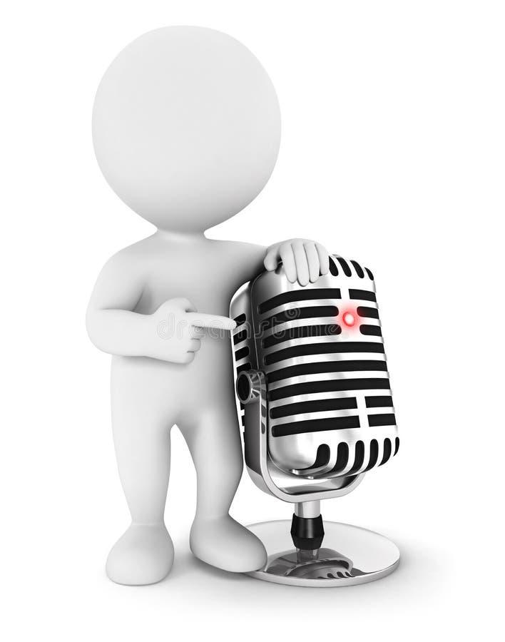 3d witte mensen met een microfoon vector illustratie