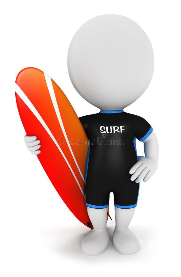 3d witte mensen surfer vector illustratie