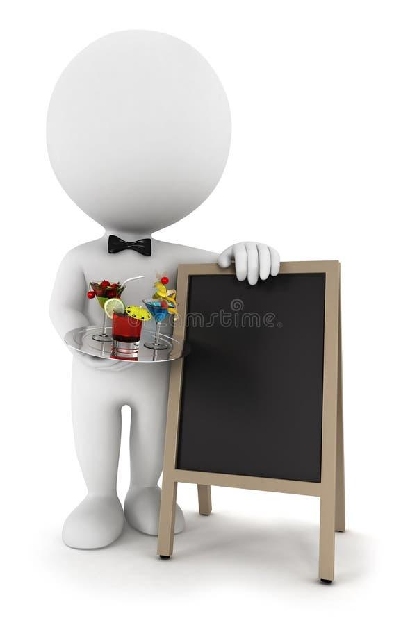 3d witte mensenkelner met cocktail en bord vector illustratie