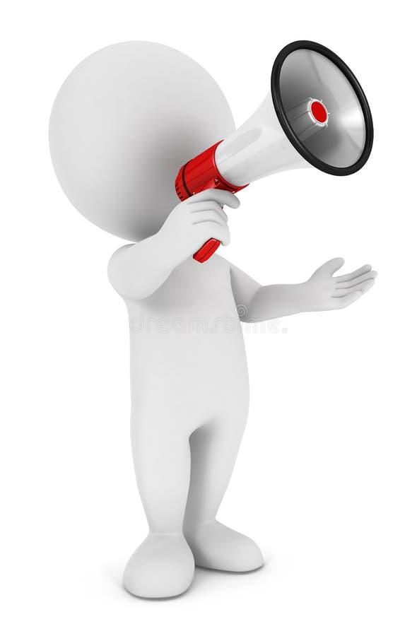 3d witte mensenmegafoon vector illustratie