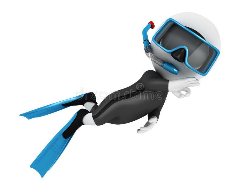 3d witte mensenscuba-duiker stock illustratie