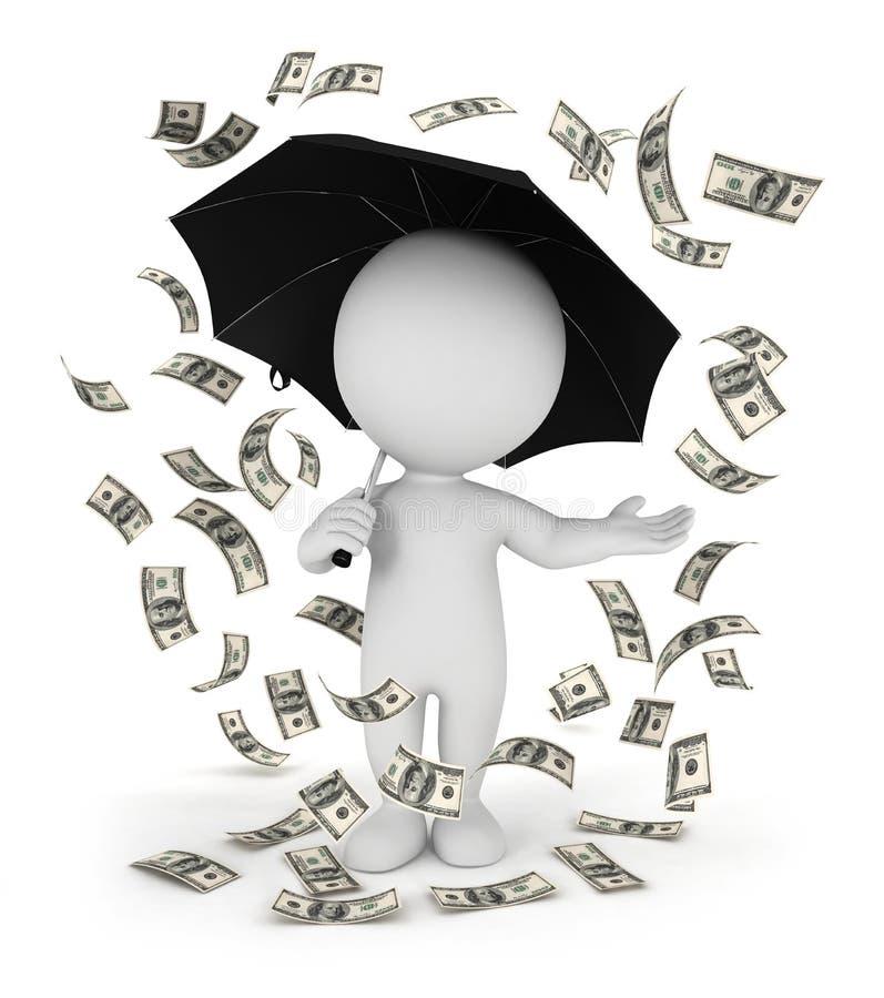 3d witte regen van het mensengeld met een paraplu stock illustratie