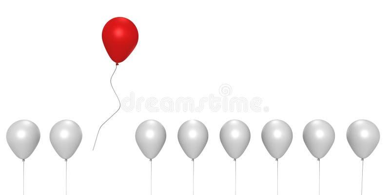 3d wizerunek oddalona balonowa latająca czerwień royalty ilustracja