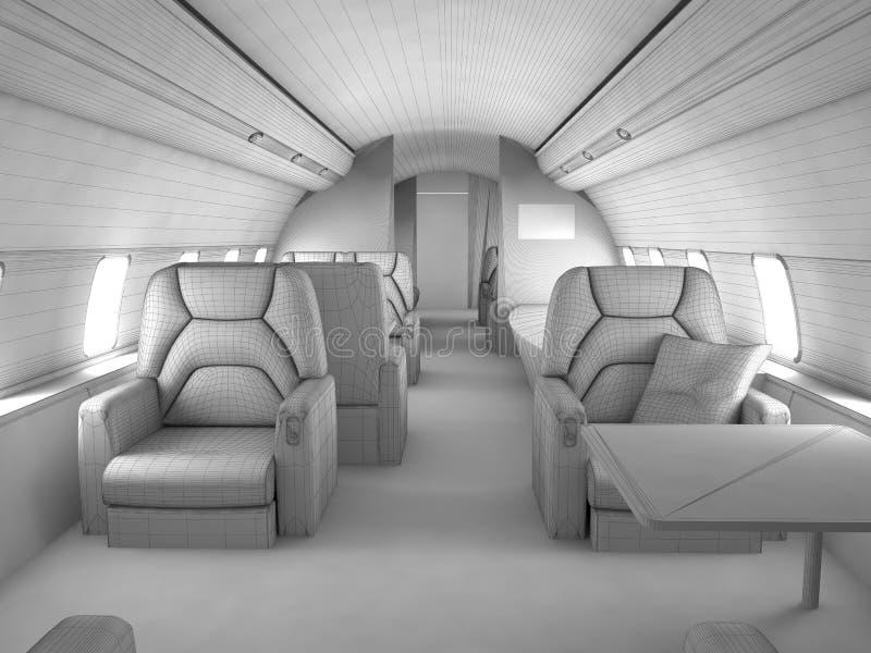 3d wnętrza modela samolot intymny royalty ilustracja