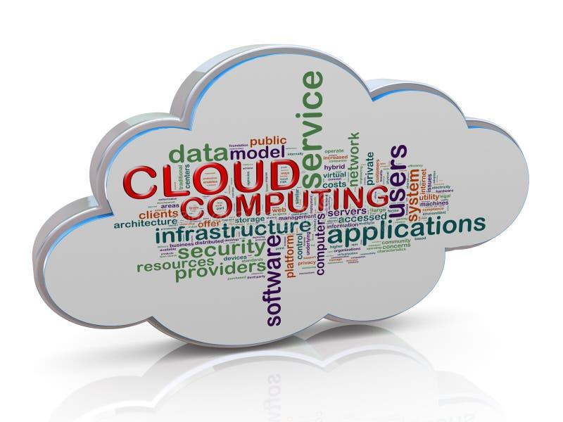 3d wolk markeringen van het gegevensverwerkingswoord vector illustratie