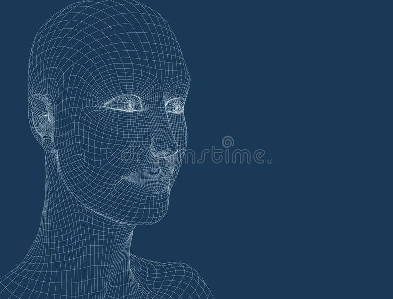 3d women head on the blue background