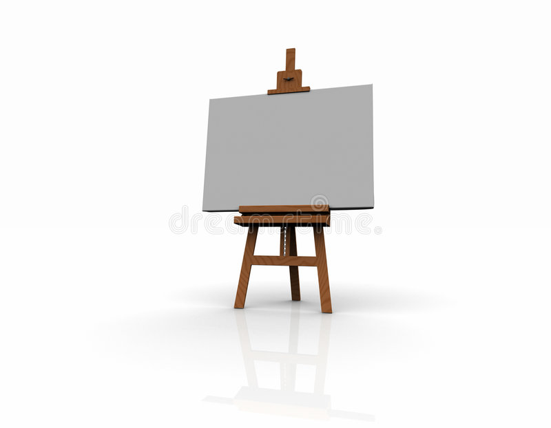 3D wood easel. 3D render image of a wood easel stock illustration