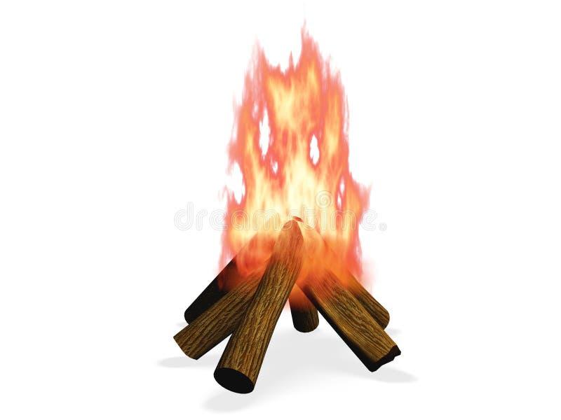 3D wood fire. Three dimensional wood fire illustration royalty free illustration