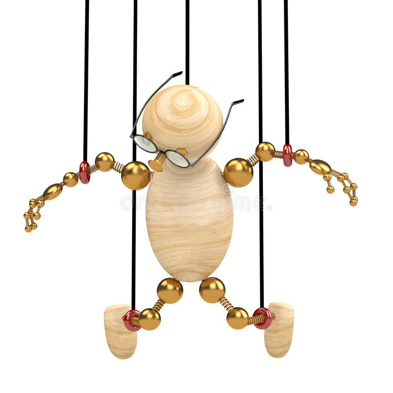 3d wood man suspended on laces. Isolated stock illustration
