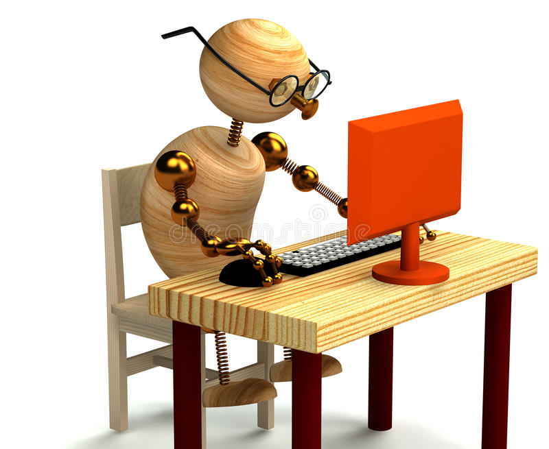 3d wood man working at computer vector illustration