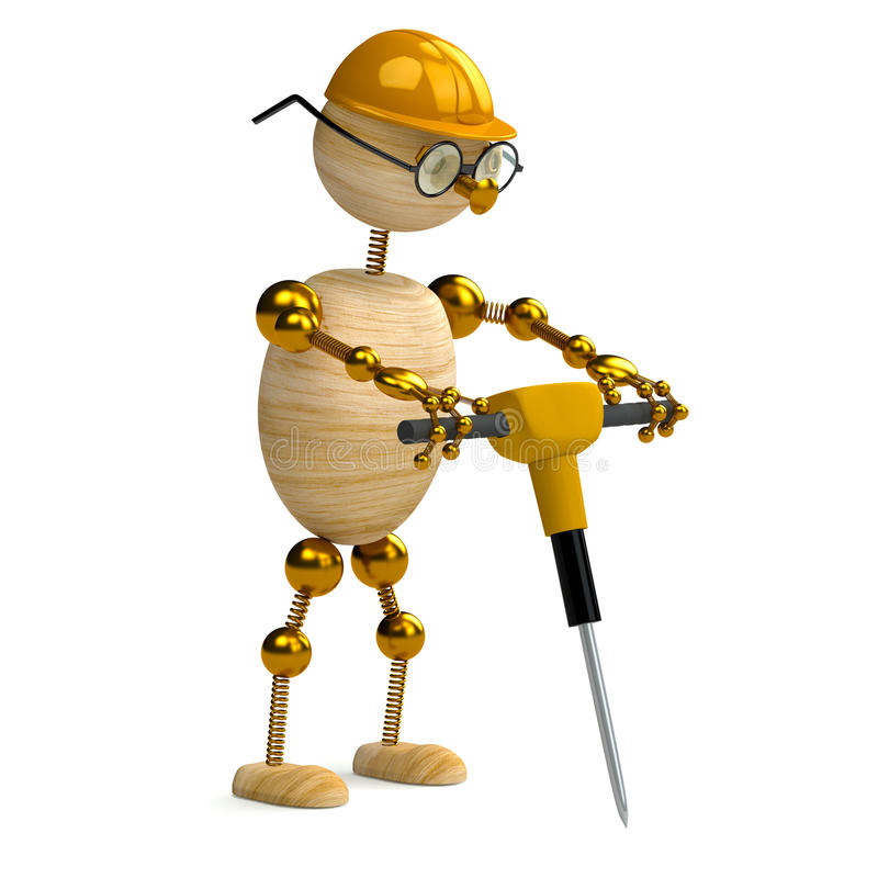 3d wood man working with jackhammer vector illustration