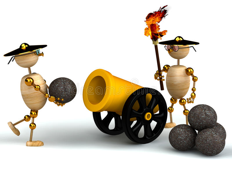 Download 3d Wood Mans With A Gold Cannon Stock Illustration - Image: 18653203