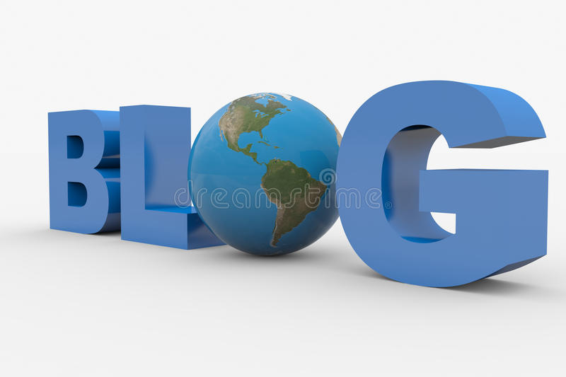 3D word Blog with earth sphere replacing letter O royalty free illustration