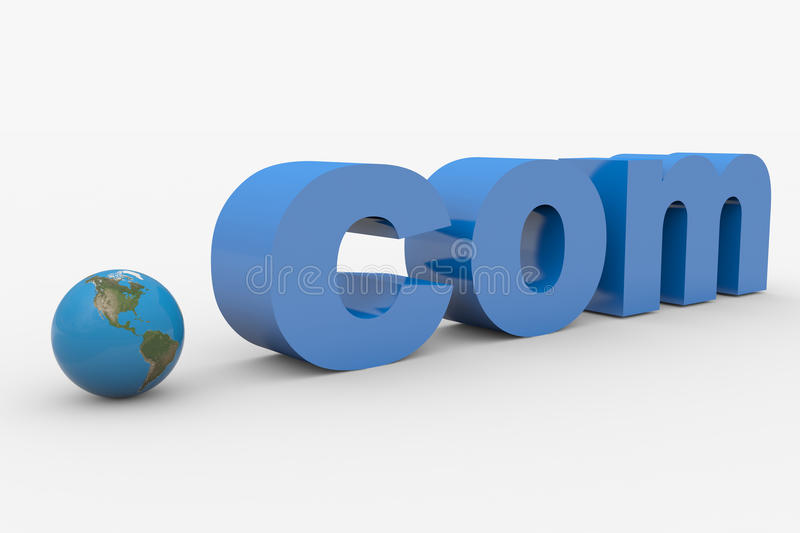 3D word COM. Earth spere replacing dot. Computer generated image royalty free illustration