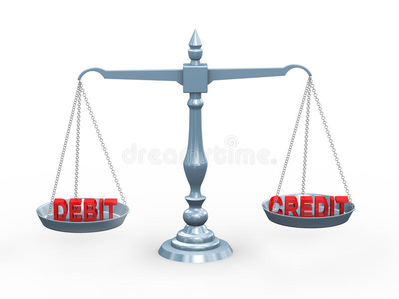 3d word debit and credit on scale