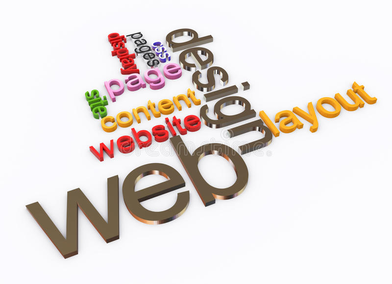3d Wordcloud of Web design. 3d words in a wordcloud of web design. Concept of web designing. Also available as transparent png file