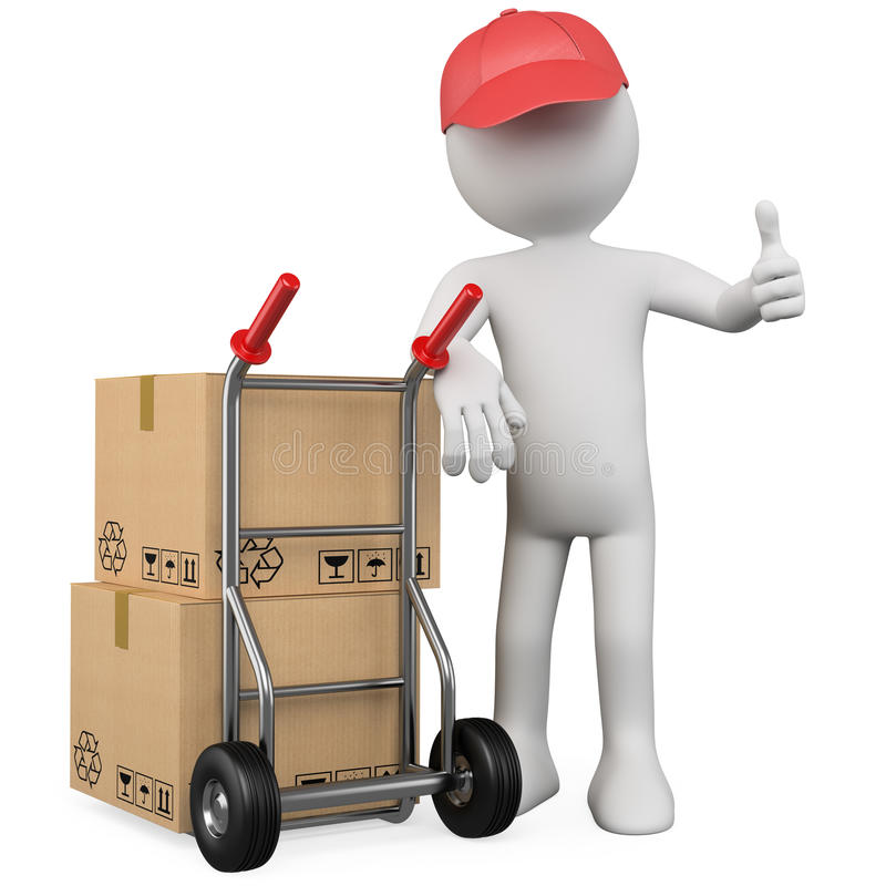 Download 3D Worker With A Package And Thumb Up Stock Illustration - Image: 23931221