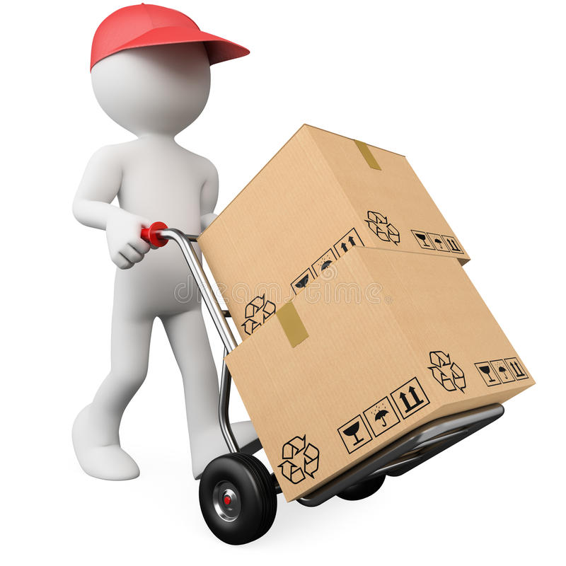 3D worker pushing a hand truck with boxes royalty free illustration