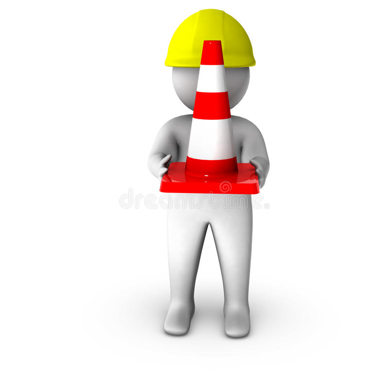 3d Worker With Traffic Cone Stock Photo