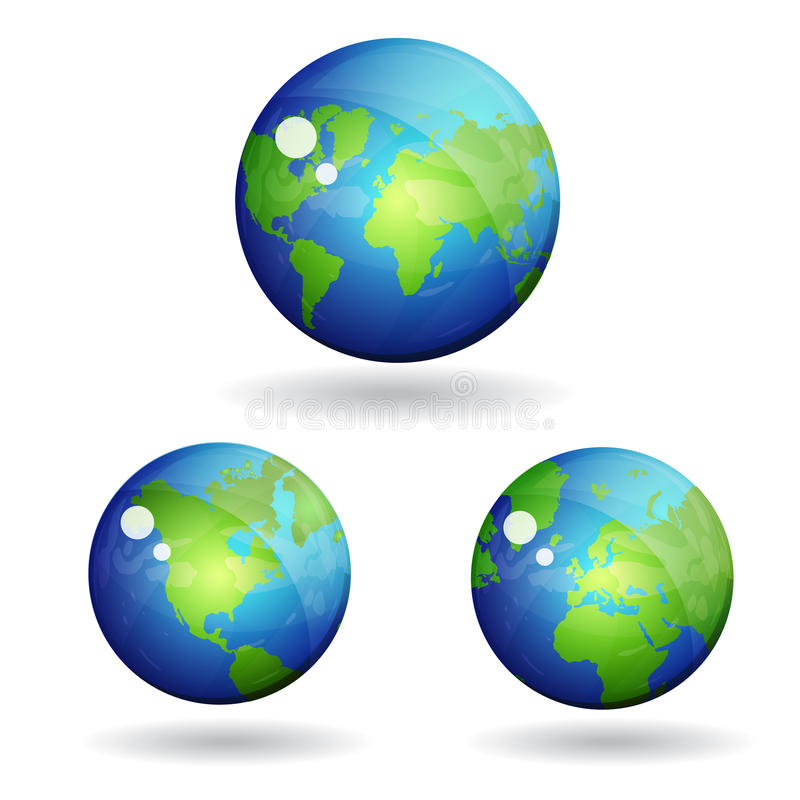 3d World Globe Map Vector Icon stock illustration