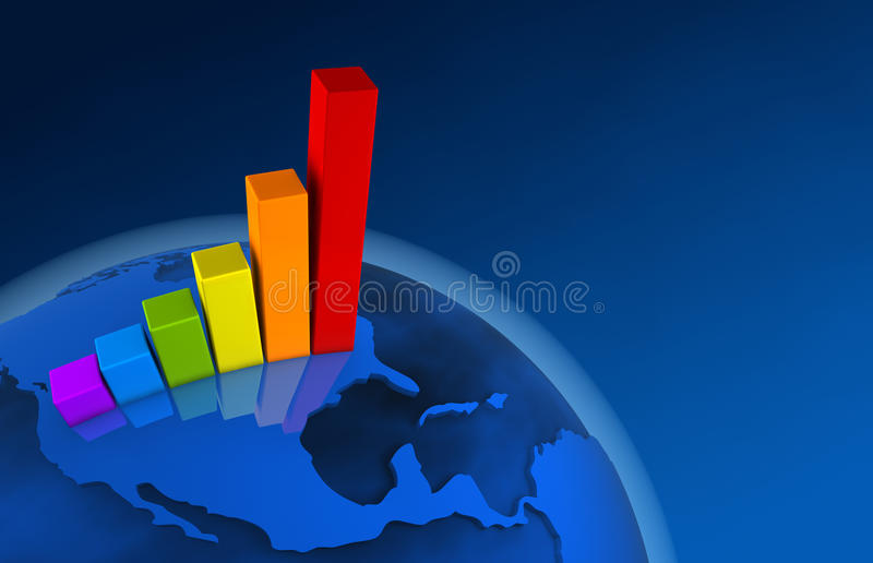 3d World Growth Chart - America stock illustration