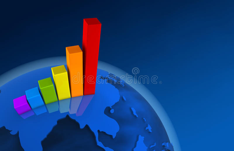 3d World Growth Chart - Asia royalty free illustration