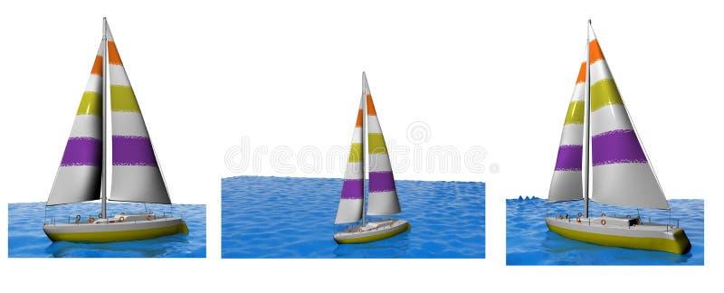3D yachts Sammlung lizenzfreie abbildung