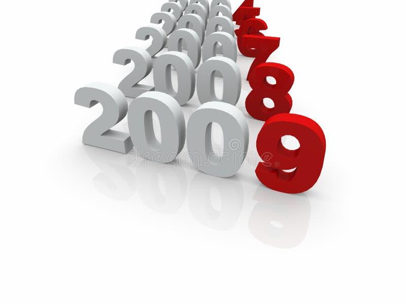 3D years till 2009 vector illustration