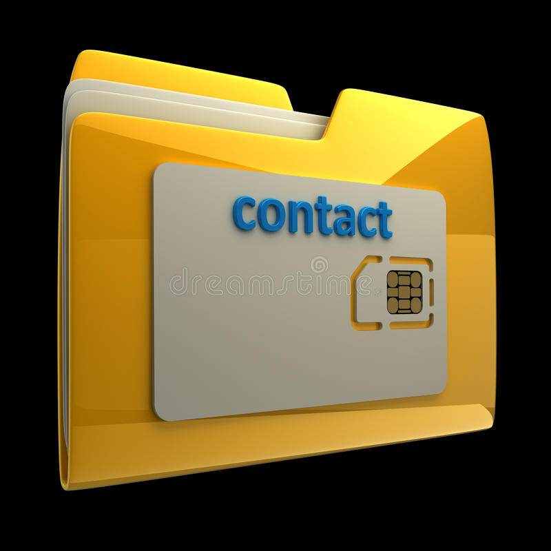 3D Yellow folder sim card isolated vector illustration