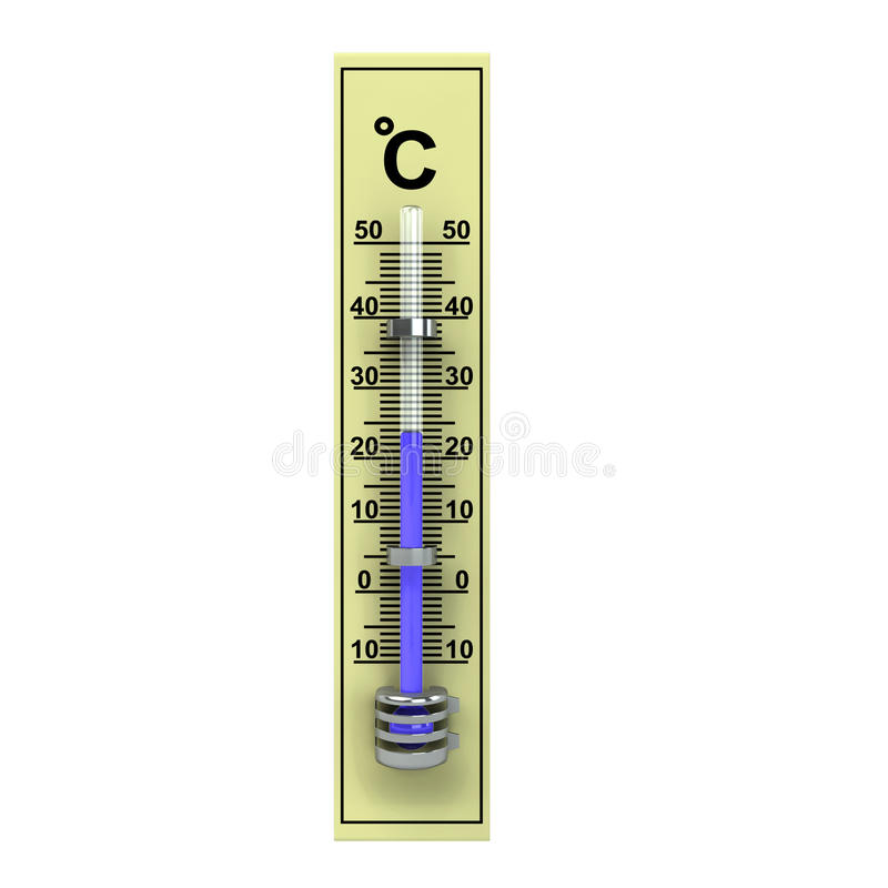 3d yellow wooden termometer royalty free illustration