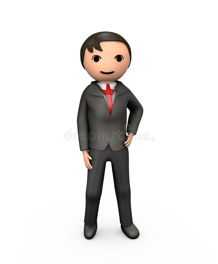3D Young Business Man in Suit. Standing on White stock illustration