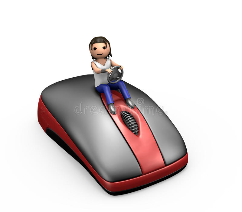 3d Young Guy Driving a Computer Mouse. 3d Man Driving a PC Mouse Looking at Viewer stock illustration