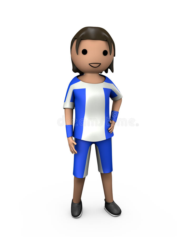3D Young Male Football Player. In Strip on White vector illustration