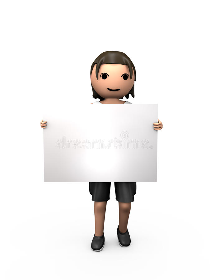 Download 3D Young Male Holding Clear Business Card Stock Illustration - Image: 16051486